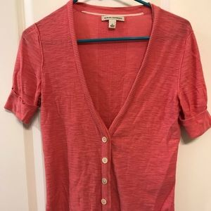 Coral Short Sleeved Button Down Cardigan Sweater